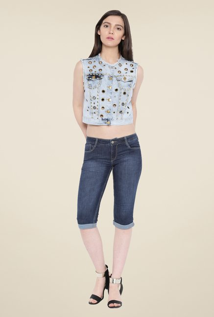 Kraus Blue Casual Denim Capris