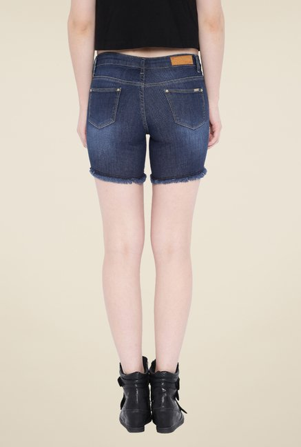 Kraus Blue Distressed Denim Shorts