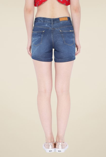 Kraus Blue Skinny Fit Denim Shorts