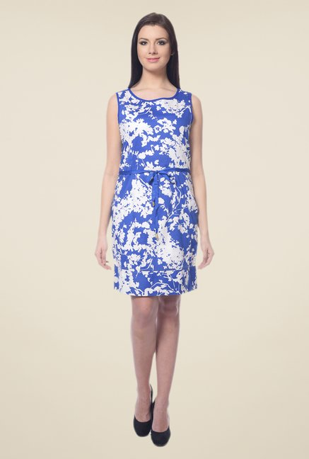 Forever Fashion Blue & White Printed Dress