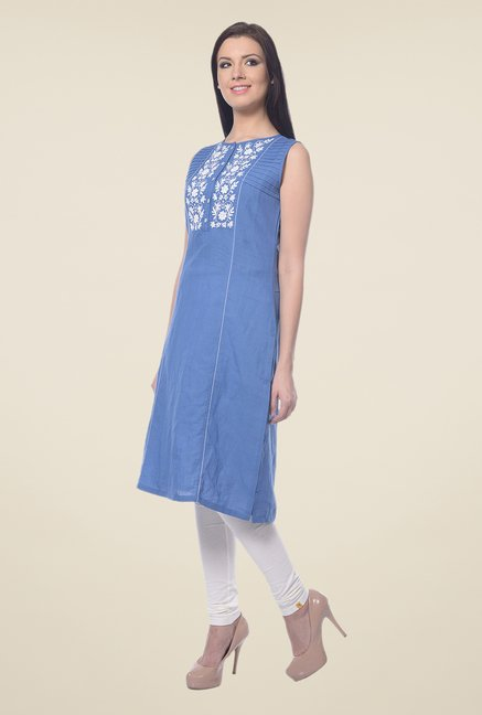 Forever Fashion Blue Linen Kurta