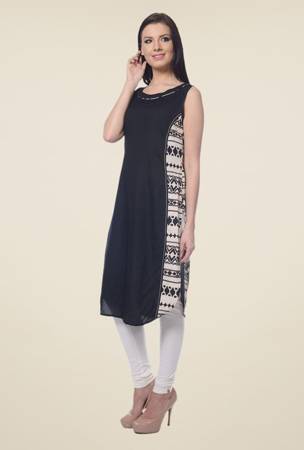 Forever Fashion Black Printed Kurta