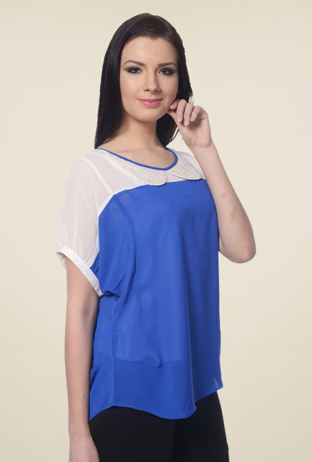 Forever Fashion Blue & White Top