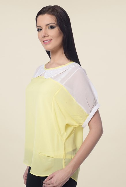 Forever Fashion Yellow & White Top