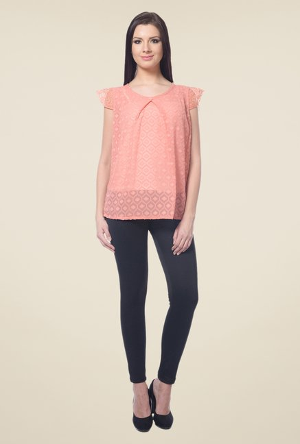 Forever Fashion Peach Self Print Top