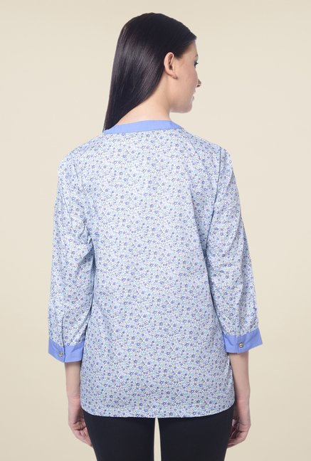 Forever Fashion Blue Floral Print Top