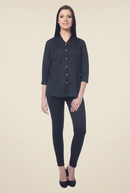 Forever Fashion Black Self Print Shirt