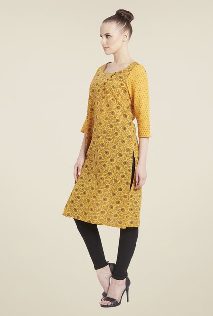 Globus Yellow Printed Kurta