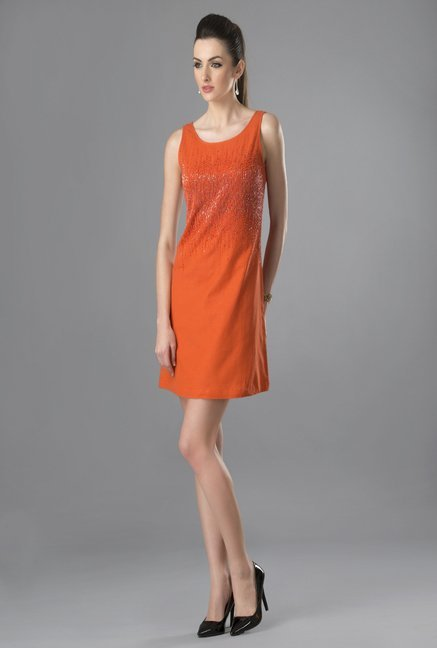 Fabindia Rust Embellished Dress