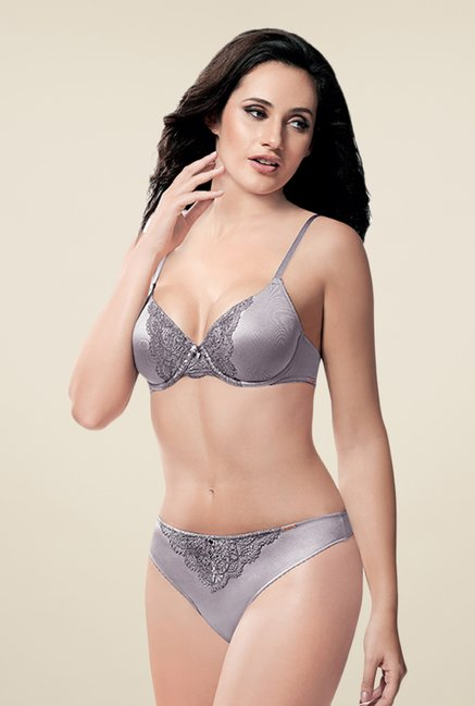 Amante Grey Full Coverage Padded Plunge Bra