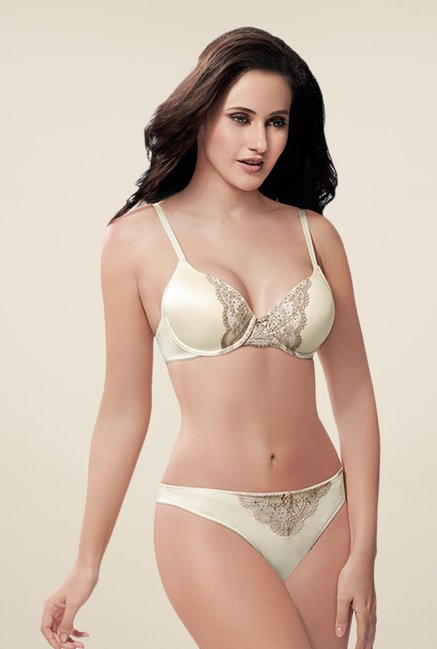 Amante Cream & Gold Full Coverage Padded Bra