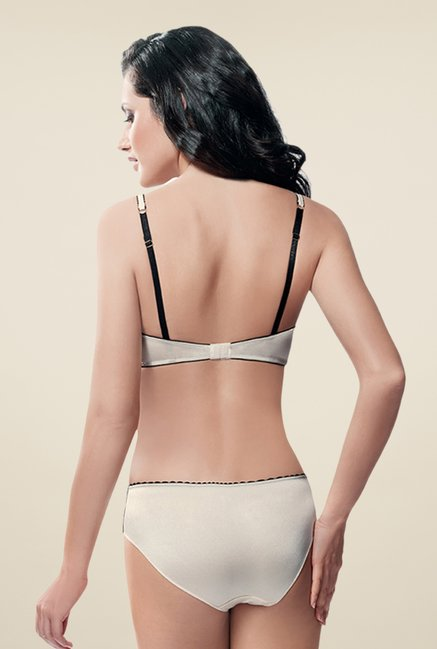 Amante Cream & Black Padded Demi Cup Bra