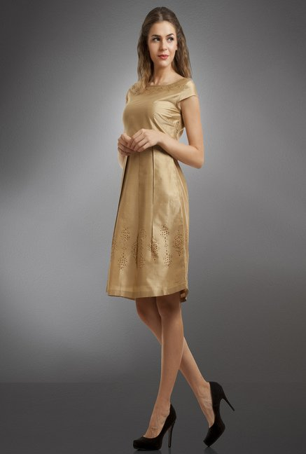Fabindia Gold Solid Dress