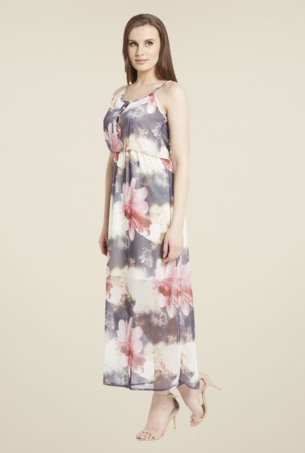 Globus Grey & Pink Floral Print Maxi Dress