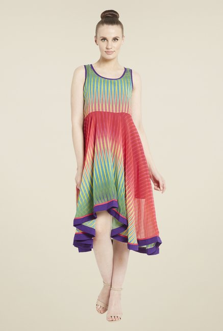 Globus Green & Coral Printed Dress
