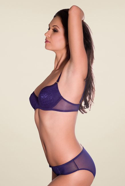 Amante Purple Self Print Bikini Panty