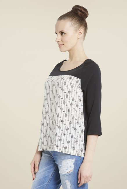 Globus Off -White & Black Printed Top