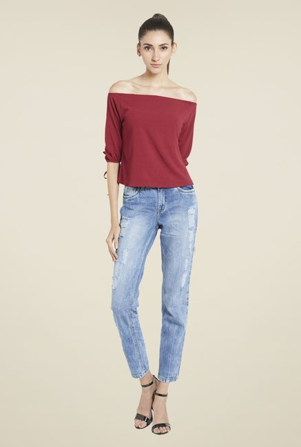 Globus Maroon Solid Off-Shoulder Top