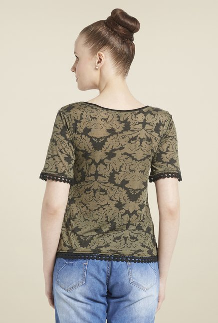 Globus Olive Printed Short Sleeve Top