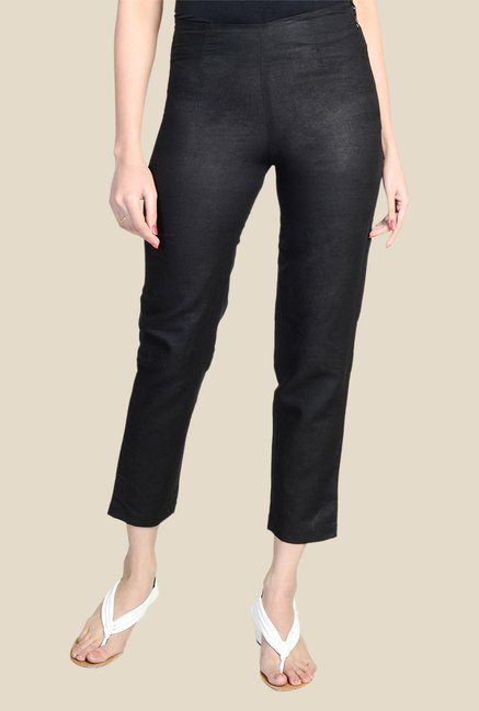 Fabindia Black Solid Pants