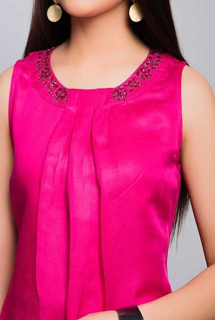 Fabindia Pink Solid Top