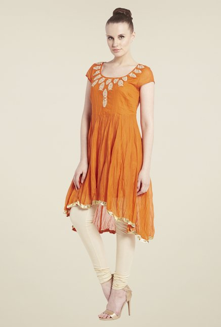 Globus Orange Embroidered Kurti