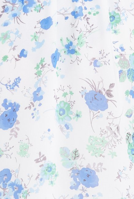 Globus White & Blue Floral Print Dress
