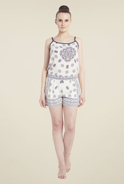 Globus White Printed Shorts
