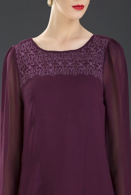 Fabindia Purple Solid Top