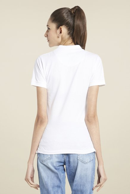 Globus White Solid Polo T-Shirt