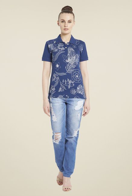 Globus Navy Floral Print Polo T-Shirt