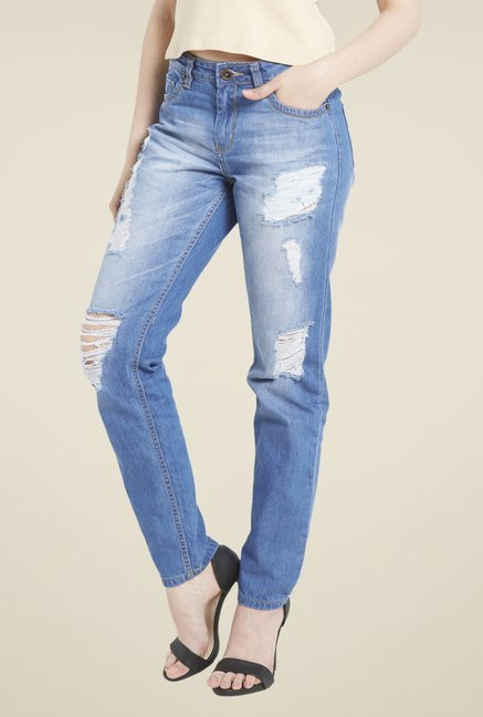 Globus Blue Mid-Rise Distressed Jeans