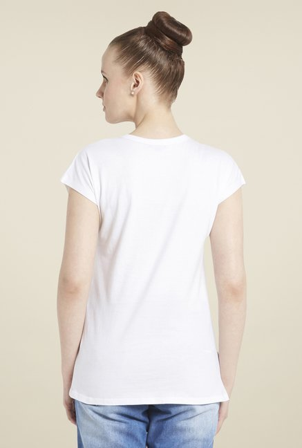Globus White Graphic Print T-Shirt