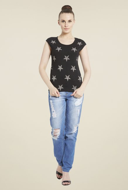 Globus Black & Grey Star Print T-Shirt