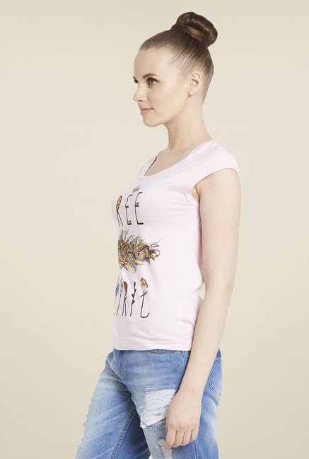 Globus Light Pink Graphic Print T-Shirt