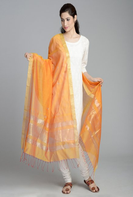 Fabindia Orange Chanderi Woven Handloom Buti Wave Dupatta