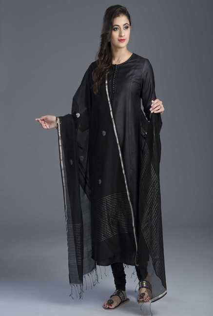 Fabindia Black Chanderi Woven Handloom Zari Fan Dupatta