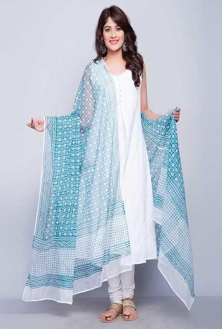 1233de38a8 Buy Fab India Blue Kota Printed Dupatta Online at best price at ...