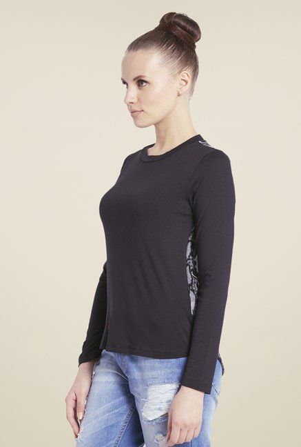 Globus Black Animal Print Top