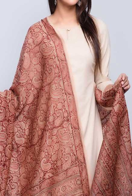 Fabindia Brown Cotton Printed Kalamkari Phool Dupatta