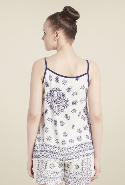 Globus Off-White & Navy Printed Top