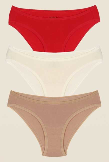Amante Red, White & Beige Bikini Panty (Pack Of 3)
