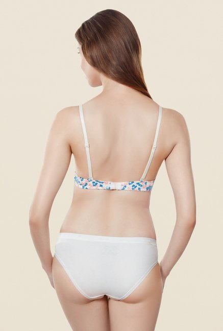 Amante White Printed Padded Underwired T Shirt Bra