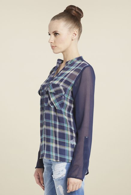 Globus Navy Checked Top