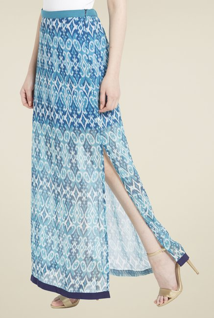 Globus Blue Printed Skirt