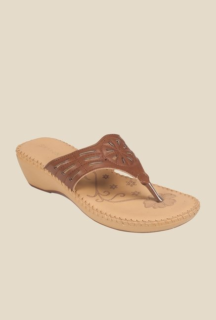 Khadim's Brown Wedge Heeled Thong Sandals
