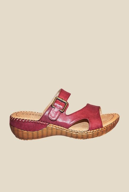 Khadim's Maroon Wedge Heeled Sandals