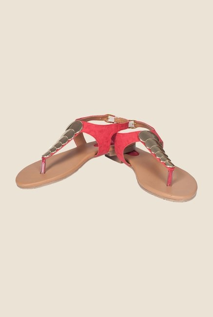 Khadim's Red Back Strap Sandals