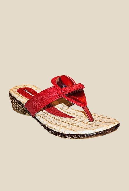Khadim's Red Wedge Heeled Sandals