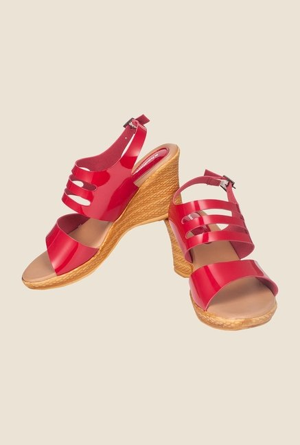 Khadim's Red Back Strap Wedges